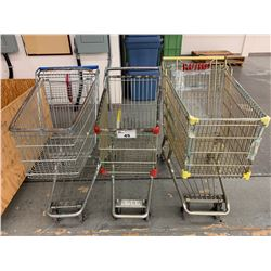 3 METAL MOBILE PRODUCT CARTS