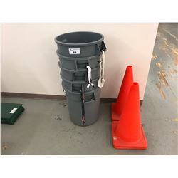 5 GREY GARBAGE BINS & 4 INDUSTRIAL ORANGE VISIBILITY CONES