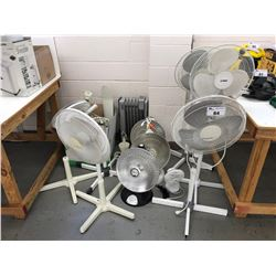 LOT OF ASSORTED FANS, FAN PARTS, HEAT DISHES & HEATER