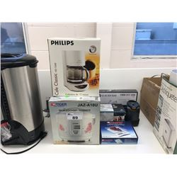 TIGER JAZ-A18U RICE COOKER, PHILIPS HD 5260 CAFE CLASSIC, STARFRIT KITCHEN SCALE & MISCELLANEOUS
