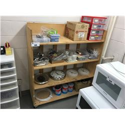 WOODEN MOBILE SHELF INCLUDING CLOCKS, ASSORTED SEWING MACHINE PARTS & TAPE