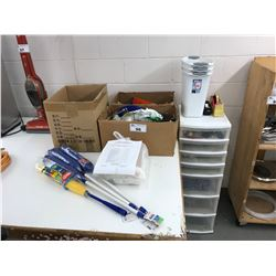 FIRST AID KIT, PLASTIC MULTI SHELF STORAGE UNIT WITH CONTENTS & 3 BOXES OF MISCELLANEOUS CONTENTS