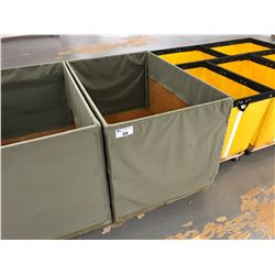FABRIC LINED WOOD MOBILE COMMERCIAL PRODUCT BIN