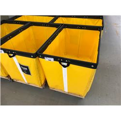 YELLOW ULINE FABRIC MOBILE COMMERCIAL PRODUCT BIN
