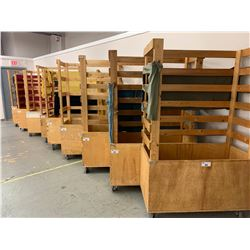 48 X 77 X 24 WOODEN MOBILE FABRIC BINS