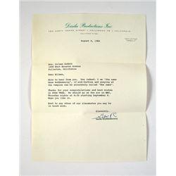 Gene Roddenberry Personal Star Trek Letter Movie Memorabilia