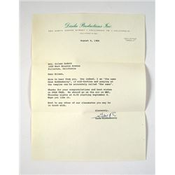 Gene Roddenberry Personal Star Trek Letter Movie Memorabilia