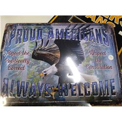 New Proud Americans metal sign