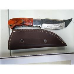 New Damascus knife with leather sheath