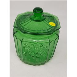 GREEN BISCUIT JAR (REPRODUCTION)