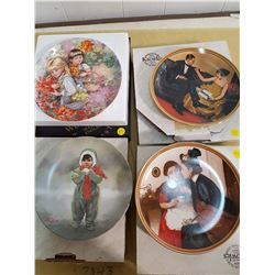 LOT OF 4 DECORATIVE PLATES (2 NORMAN ROCKWELL, 1 VICKERS, 1 ZOLAN)