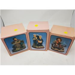 """LOT OF 3 FIGURINES (BOXES ARE 5"""" X 4""""--6"""" X 5"""")"""