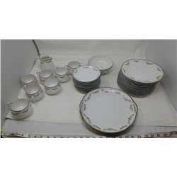 LOT OF DISHES (HAND PAINTED NIPPON) *12 PLATES, 11 SAUCERS, 7 TEACUPS, 1 BOWL WITH CRACK, ETC.*