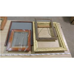 LOT OF PICTURE FRAMES (VARIOUS SIZES-SOME HAVE GLASS, SOME DON'T)
