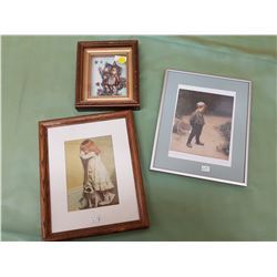 LOT OF THREE PICTURES (GIRL & DOG, BOY, 2 CHILDREN)