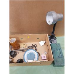 LOT OF ASSORTED ITEMS (LAMP, TACKLE BOX, ETC.)