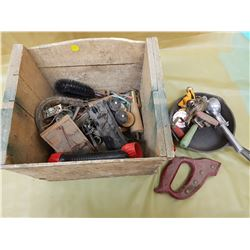 WOODEN CRATE OF COLLECTIBLES