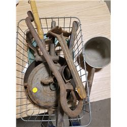 LOT OF CAST IRON TOOLS, PULLEY WHEEL, ETC.
