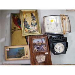 LOT OF ASSORTED CLOCKS, THERMOMETERS, PICTURES