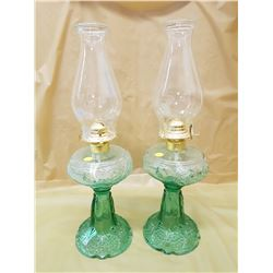 TWO GREEN #2 COAL OIL LAMPS