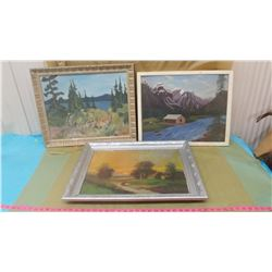 THREE PICTURES (LOG CABIN, SUNSET, FOREST)