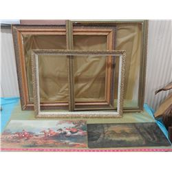 THREE LARGE FRAMES AND TWO PICTURES WITHOUT FRAMES