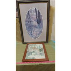"""FOREST PICTURE AND EMBROIDERED PICTURE (28"""" X 40""""--18"""" X 23"""") *WATER DAMAGE ON FOREST PICTURE*"""