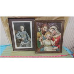 TWO PICTURES (BISHOP OF REGINA & HOLY FAMILY)