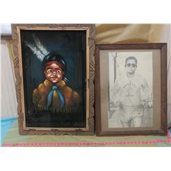 TWO PICTURES (ONE IS PAINTED ON VELVET)