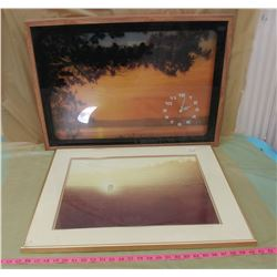 """TWO SUNSET PICTURES (UNKNOWN IF CLOCK WORKS) *CRACK IN GLASS ON 1* (26"""" X 22""""--29"""" X 21"""")"""