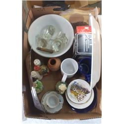 LOT OF COLLECTIBLES (SILVER PLATED TRAY, SALT & PEPPER SHAKERS, FIGURINES, ETC.)
