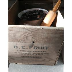 WOODEN CRATE WITH ROLLING PIN, FIGURINE, ASHTRAY, ETC.