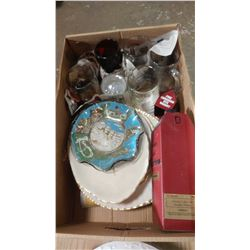 LOT OF ASSORTED PLATES, GLASSES, ETC.
