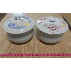 TWO CHAMBER POTS WITH MISMATCHED LIDS