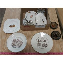 LOT OF ASSORTED ITEMS (PLATES, ASHTRAYS, ETC.)