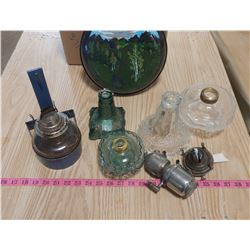 BOX OF COAL OIL LAMP PARTS AND PAINTED FRYING PAN