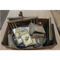 LOT OF ASSORTED ITEMS (BUTTER PRESS, LAMP PARTS, PICTURE FRAMES, ETC.)