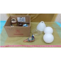 """LOT OF COLLECTIBLES INCLUDING MILK GLASS LIGHT SHADES (ROUND SHADES 3"""", OTHER SHADE 8"""")"""