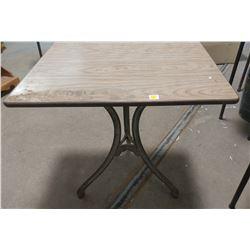 "CAST IRON BASE TABLE-3 LEGS (30"" X 24"" X 29"")"