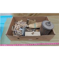 LOT OF ASSORTED ITEMS INCLUDING CLOTHES PIN, BUTTER PRESS, PARTS OF AN ICE CREAM MAKER