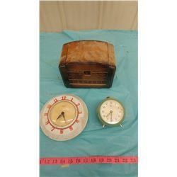 TWO CLOCKS AND MUSICAL BOX-MUSICAL BOX BROKEN (INGRAM & LIBERTY CLOCKS)