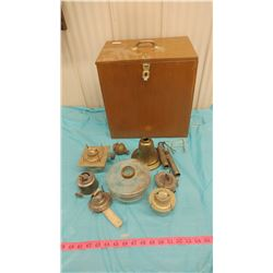 WOODEN BOX WITH LAMP PARTS AND PIECES