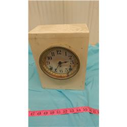 HOMEMADE CLOCK WITH PENDULUM (BACK DOOR FALLS OFF)