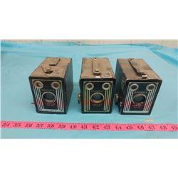 THREE BROWNIE BOX CAMERAS (TARGET SIX-20)