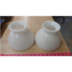 "MILK GLASS HOBNAIL SHADES- 8"" (SMALL CHIP)"