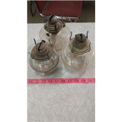 THREE LAMPS, NO CHIMNEYS OR BURNERS