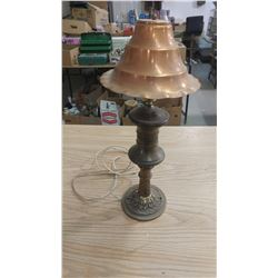 BRASS LAMP WITH COPPER SHADE