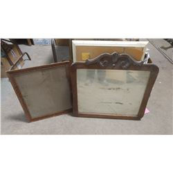 """MIRROR WITH FRAME AND PICTURE FRAME -19.5"""" X 22.5"""" & 27"""" X 27"""" (MIRROR CRACKED)"""
