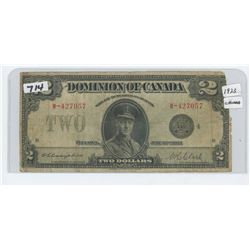 1923- TWO DOLLAR DOMINION OF CANADA