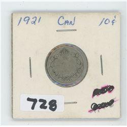 1921- CANADIAN TEN CENTS